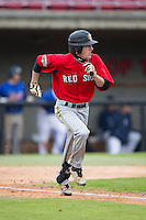 Brandon Fite (32) of Nation Ford High School in Fort Mill, South Carolina playing for the Boston Red Sox scout team at the South Atlantic Border Battle at Doak Field on November 1, 2014.  (Brian Westerholt/Four Seam Images)
