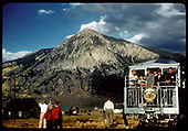 RMRC excursion with &quot;Silver Vista&quot; at Crested Butte. RMRC drumhead on &quot;Silver Vista.&quot;<br /> D&amp;RGW  Crested Butte, CO