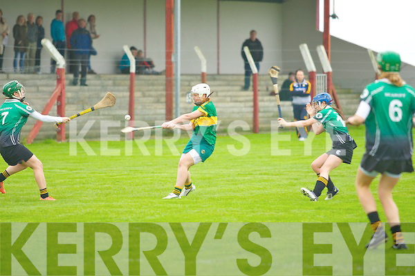 Marie Leen (Clanmaurice) in action with Ellen Collins (Scariff-Ogonnelloe) in the Munster Junior Club Championship Semi-Final at causeway GAA grounds on Saturday.