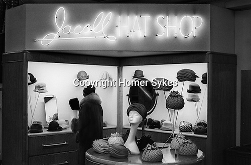 Jacoll hat Shop, boutique within the department store Derry and Toms  in Kensington High Street London 1968...