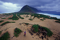 Man hiking at Kaena Point, on the Westernmost tip of the Island of Oahu