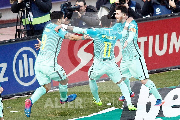 FC Barcelona's Luis Suarez, Neymar Santos Jr and Leo Messi celebrate goal during La Liga match. February 26,2017. (ALTERPHOTOS/Acero)