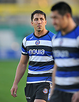 Gavin Henson looks on after the match. Amlin Challenge Cup match, between Bath Rugby and the Newport Gwent Dragons on October 19, 2013 at the Recreation Ground in Bath, England. Photo by: Patrick Khachfe / Onside Images