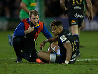 Bath Rugby's Anthony Watson receives treatment<br /> <br /> Photographer Bob Bradford/CameraSport<br /> <br /> European Rugby Heineken Champions Cup Group C - Bath Rugby v Harlequins - Friday 10th January 2020 - The Recreation Ground - Bath<br /> <br /> World Copyright © 2019 CameraSport. All rights reserved. 43 Linden Ave. Countesthorpe. Leicester. England. LE8 5PG - Tel: +44 (0) 116 277 4147 - admin@camerasport.com - www.camerasport.com