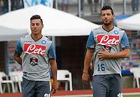 Edu Vargas   Blerim Dzemaili <br /> ritiro precampionato Napoli Calcio a  Dimaro 23 Luglio 2014<br /> <br /> Preseason summer training of Italy soccer team  SSC Napoli  in Dimaro Italy July 23, 2014