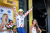 Dion Smith (AUS/Wanty Groupe Gobert) receives the Polka Dot Jersey. <br /> <br /> Stage 2: Mouilleron-Saint-Germain > La Roche-sur-Yon (183km)<br /> <br /> Le Grand Départ 2018<br /> 105th Tour de France 2018<br /> ©kramon