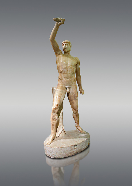 2nd century AD Roman marble sculpture of Aristogeiton  from the Tyrannicide group,  a Roman copy of an early classical period Geek original, inv 6307, Naples Museum of Archaeology, Italy