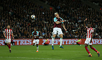 West Ham United's Marko Arnautovic scores with a header but the goal was ruled out for offside<br /> <br /> Photographer Rob Newell/CameraSport<br /> <br /> The Premier League - West Ham United v Stoke City - Monday 16th April 2018 - London Stadium - London<br /> <br /> World Copyright &copy; 2018 CameraSport. All rights reserved. 43 Linden Ave. Countesthorpe. Leicester. England. LE8 5PG - Tel: +44 (0) 116 277 4147 - admin@camerasport.com - www.camerasport.com