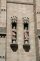 Detail of the spire of Trinity Church (1846, 3rd church on this site) at the intersection of Broadway and Wall Street in Lower Manhattan, New York City, New York State, USA