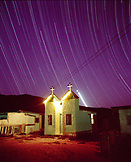 USA, Mexico, church at night with tracks of stars, San Benitos Islands