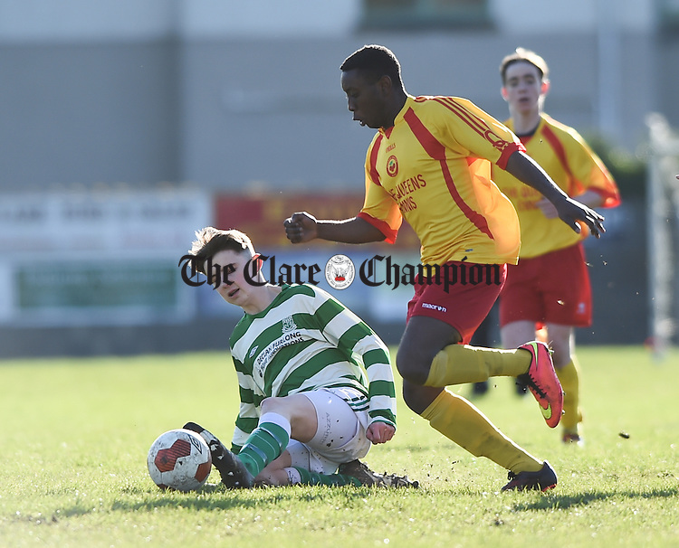 X of Villa, Waterford  in action against Sultan Owelebi of Avenue during their  FAI U-17 cup  semi-final in Roslevan. Photograph by John Kelly.