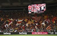 Calcio, Serie A: Roma - Atalanta, Stadio Olimpico, 27 agosto, 2018.<br /> Roma's supporters prior to the Italian Serie A football match between Roma and Atalanta at Roma's Stadio Olimpico, August 27, 2018.<br /> UPDATE IMAGES PRESS/Isabella Bonotto