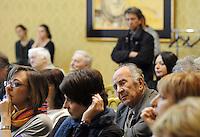 Roma, 16 Aprile 2011.Provincia di Roma, Sala Di Liegro.Commemorazione per Vittorio Arrigoni.Nella foto Valentino Parlato fondatore del quotidiano Il Manifesto