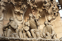Adoration of the shepherds, sculptures by Joaquim Ros I Bofarull, Charity hallway, Nativity façade, La Sagrada Familia, Roman Catholic basilica, Barcelona, Catalonia, Spain, built by Antoni Gaudí (Reus 1852 ? Barcelona 1926) from 1883 to his death. Still incomplete. Picture by Manuel Cohen