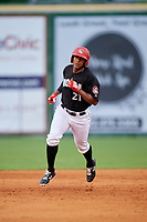 Chattanooga Lookouts right fielder Edgar Corcino (21) rounds the bases after hitting a home run in the bottom of the third inning during a game against the Jackson Generals on May 9, 2018 at AT&T Field in Chattanooga, Tennessee.  Chattanooga defeated Jackson 4-2.  (Mike Janes/Four Seam Images)