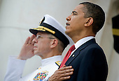 Arlington, VA - May 25, 2009 -- United States Navy Admiral Mike Mullen, chairman of the Joint Chiefs of Staff and U.S. President Barack Obama render honors during the playing of the National Anthem during Memorial Day commemorations at Arlington National Cemetery, Arlington, VA., Monday, May 25, 2009. .Mandatory Credit: Chad J. McNeely - DoD via CNP.........Mandatory Credit: Chad J. McNeely - DoD via CNP