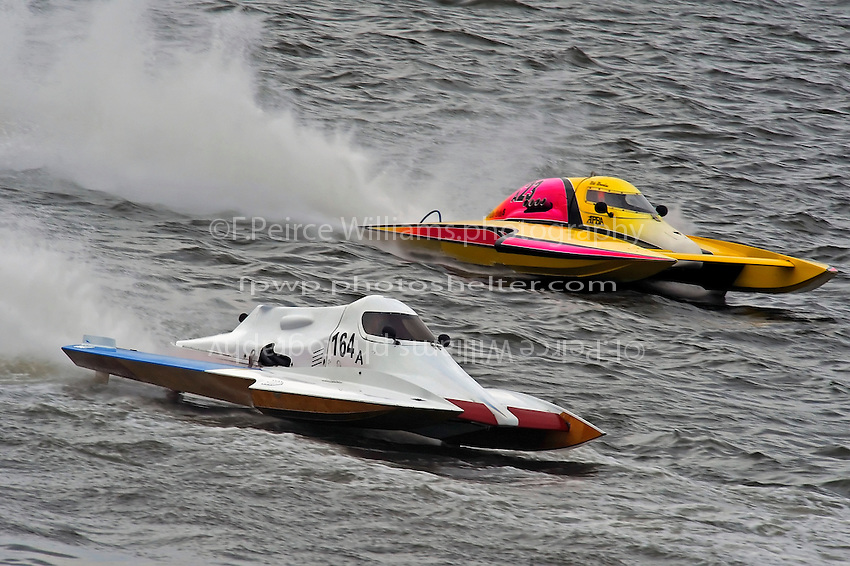 "A-164 ""Blitzkrieg"", 2.5 Mod hydroplane and Mike Monohan, A-23 ""Geezerboat"", 2.5 Mod hydroplane"