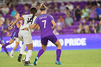 Orlando, FL - Saturday July 15, 2017: Sydney Leroux, Steph Catley during a regular season National Women's Soccer League (NWSL) match between the Orlando Pride and FC Kansas City at Orlando City Stadium.