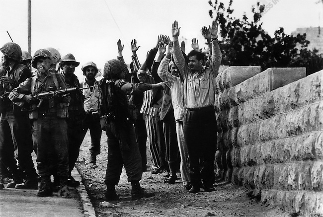 Jordanian soldiers captured by Israeli forces, Six-Day War, near Jerusalem, Israel, June 1967.