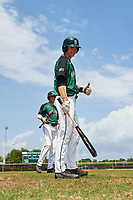 Dartmouth Big Green Trevor Johnson (36) gives a thumbs up as Matt Feinstein (23) looks on before a game against the Southern Maine Huskies on March 23, 2017 at Lake Myrtle Park in Auburndale, Florida.  Dartmouth defeated Southern Maine 9-1.  (Mike Janes/Four Seam Images)