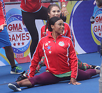 NEW YORK, NY-August 11: Dominiaque Dawes, McKayla Maroney Olymic Gold winner at Good Morning America go for GMA Games Gold in New York. NY August 11, 2016. Credit:RW/MediaPunch