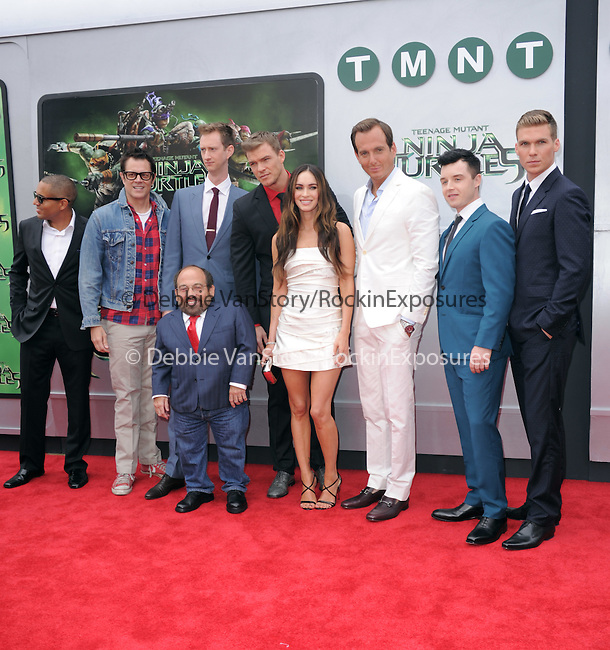 Will Arnett and Megan Fox with other cast members attends The Paramount Pictures and Nickelodeon Movies Los Angeles premiere of TEENAGE MUTANT NINJA TURTLES at the Regency Village Theater in Westwood, California on August 03,2014                                                                               © 2014 Hollywood Press Agency
