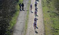 Team Katusha coming through the Bois de Wallers-Arenberg sector<br /> <br /> 2015 Paris-Roubaix recon