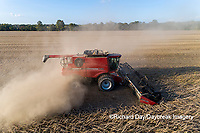 63801-13406 Harvesting soybeans in fall-aerial  Marion Co. IL