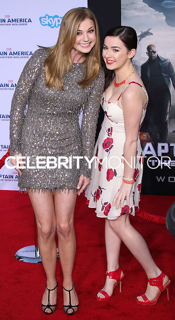 "HOLLYWOOD, LOS ANGELES, CA, USA - MARCH 13: Emily VanCamp, Sarah Gilman at the World Premiere Of Marvel's ""Captain America: The Winter Soldier"" held at the El Capitan Theatre on March 13, 2014 in Hollywood, Los Angeles, California, United States. (Photo by Xavier Collin/Celebrity Monitor)"