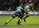 Connacht's Rodney Ah You bursts past Cardiff Blues' Gavin Evans<br /> Guiness Pro12<br /> Cardiff Blue v Connacht<br /> BT Sport Cardiff Arms Park<br /> 06.03.15<br /> &copy;Ian Cook -SPORTINGWALES