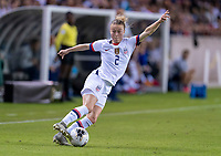 HOUSTON, TX - FEBRUARY 03: Emily Sonnett #2 of the United States dribbles during a game between Costa Rica and USWNT at BBVA Stadium on February 03, 2020 in Houston, Texas.