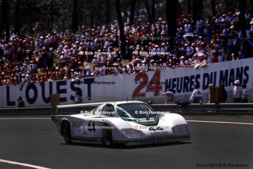LE MANS, FRANCE: The Jaguar XJR-5 008 driven by Bob Tullius, Brian Redman and Doc Bundy to a 23rd place finish in the 1984 24 Hours of Le Mans on June 17, 1984, at Circuit de la Sarthe in Le Mans, France.