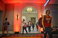 Dallas, TX - Friday March 31, 2017: Stanford players leave the hotel on the way to the arena prior to the NCAA National Semifinal Game between the women's basketball teams of Stanford and South Carolina at the American Airlines Center.