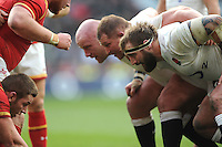 (L-R) Dan Cole, Dylan Hartley and Joe Marler of England scrum down during the RBS 6 Nations match between England and Wales at Twickenham Stadium on Saturday 12th March 2016 (Photo: Rob Munro/Stewart Communications)