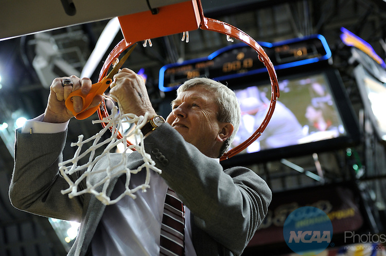 05 APR 2011: Texas A&M head coach Gary Blair takes pat in the net cutting ceremony following the Division I Women's Basketball Championship held at Conseco Field in Indianapolis, IN. Texas A&M defeated the University of Notre Dame 76-70 to claim the national title. Stephen Nowland/NCAA Photos