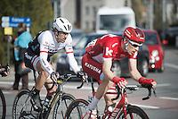 Fabian Cancellara (SUI/Trek-Segafredo) chasing back to the lead peloton after a mechanical<br /> <br /> E3 - Harelbeke 2016