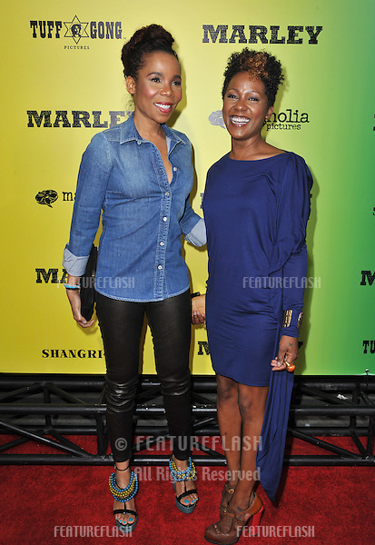 Cedella Marley (left) and Karen Marley at the Los Angeles premiere of Marley at the Cinerama Dome, Hollywood..April 17, 2012  Los Angeles, CA.Picture: Paul Smith / Featureflash