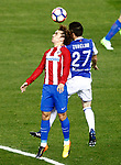 Atletico de Madrid's Antoine Griezmann (l) and Real Sociedad's Igor Zubeldia during La Liga match. April 4,2017. (ALTERPHOTOS/Acero)
