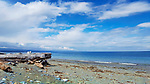 View of Strait of Juan de Fuca from Dungeness Spit, Dungeness National Wildlife Refuge, and Dungeness Recreation Area, a Clallam County park near Sequim in Washington State.  Dungeness Spit, and Dungeness National Wildlife Refuge