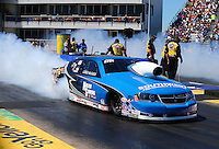 Sept. 21, 2013; Ennis, TX, USA: NHRA pro stock driver Chris McGaha during the Fall Nationals at the Texas Motorplex. Mandatory Credit: Mark J. Rebilas-