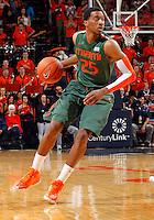 Miami guard Garrius Adams (25) during an NCAA basketball game Saturday Feb, 24, 2014 in Charlottesville, VA. Virginia defeated Miami 65-40.