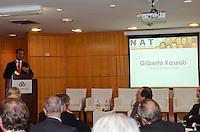 SAO PAULO, 13 DE JULHO DE 2012 - KASSAB NAT - Prefeito Gilberto Kassab em Palestra-almoço na reunião do NAT - Núcleo de Altos Temas, no Secovi – Sindicato de Habitação, regiao sul da capital, na tarde desta sexta feira. FOTO: ALEXANDRE MOREIRA - BRAZIL PHOTO PRESS