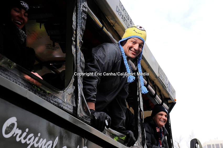 February 4, 2015 - Boston, Massachusetts, U.S. -  New England Patriots tight end Rob Gronkowski (87) rides on a duck boat during a parade held in Boston to celebrate the team's victory over the Seattle Seahawks in Super Bowl XLIX. Eric Canha/CSM