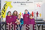 Kerry Life Education aims to inform primary school children about the dangers of drugs and alcohol through their mobile education classroom .Pictured at Castleisland Scoil Muire Gan Smal where students got the opportunity to take part in the iniatitive.L-R Shauna Ahern, Patricia O'Rahily, Mary O'Donoghue and Harold the Giraffe, Jade Barry and Katyln Prendergast