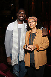 """Carvens Lissaint with his H.S. teacher backstage before The Rockefeller Foundation and The Gilder Lehrman Institute of American History sponsored High School student #EduHam matinee performance of """"Hamilton"""" at the Richard Rodgers Theatre on October 25, 2017 in New York City."""