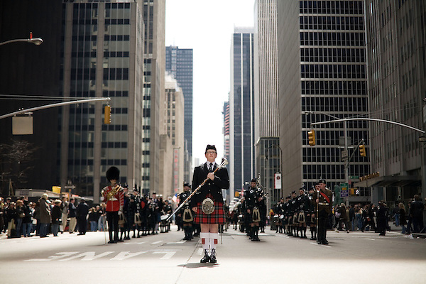 Saturday, April 14,  2007, New York, New York.. The 9th annual Tartan Day Parade was held today on 6th Avenue between 44th and 58th Streets.. Thousands turned out to play the drums, pipes and to view all those dressed for the occasion.. Andrew Symon, of Scotland, the World Champion Drum Major, leads the Edinburgh Academy CCF Pipes and Drums up 6th Avenue.