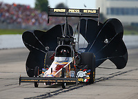 May 21, 2016; Topeka, KS, USA; NHRA top fuel driver Luigi Novelli during qualifying for the Kansas Nationals at Heartland Park Topeka. Mandatory Credit: Mark J. Rebilas-USA TODAY Sports