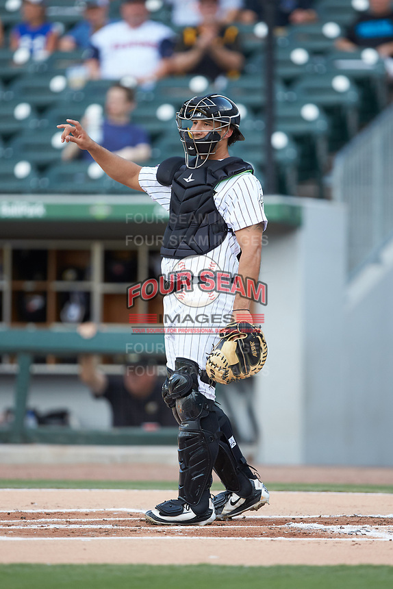 Charlotte Knights catcher Seby Zavala (23) on defense against the Toledo Mud Hens at BB&T BallPark on June 22, 2018 in Charlotte, North Carolina. The Mud Hens defeated the Knights 4-0.  (Brian Westerholt/Four Seam Images)