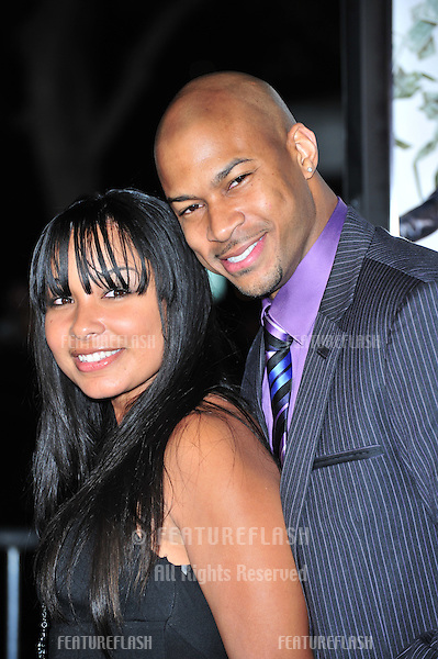 "Finesse Mitchell & fiancée at the Los Angeles premiere of his new movie ""Mad Money"" at the Mann Village Theatre, Westwood..January 9, 2008  Los Angeles, CA.Picture: Paul Smith / Featureflash"