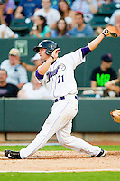 Carolina League All-Star Brady Shoemaker #21 of the Winston-Salem Dash follows through on his swing against the California League All-Stars during the 2012 California-Carolina League All-Star Game at BB&T Ballpark on June 19, 2012 in Winston-Salem, North Carolina.  The Carolina League defeated the California League 9-1.  (Brian Westerholt/Four Seam Images)